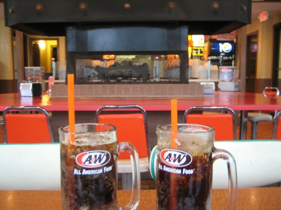 A&W Restaurant: Frosty mugs of A & W root beer - ahhhh...