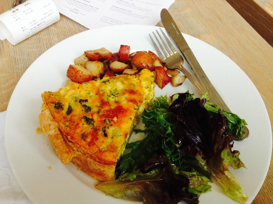 The Table : broccoli cheddar quiche, potato and salad