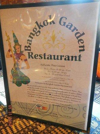 Bangkok Garden Restaurant: menu