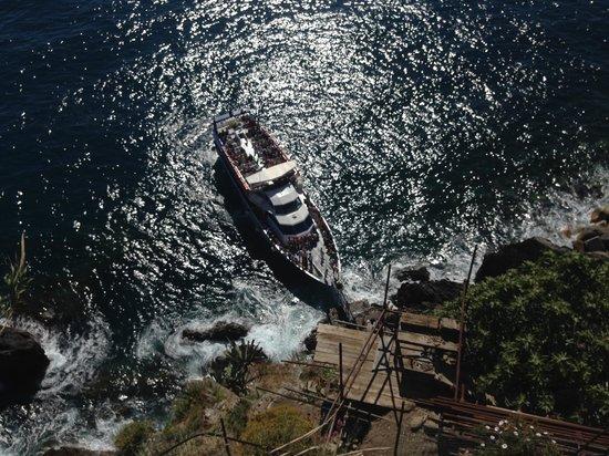Vandiris: The ferry pulls in right below our deck