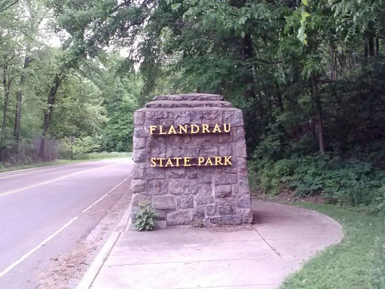 Flandrau State Park welcome sign.