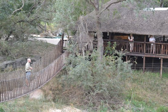 Idube Game Reserve Lodge: Walkway from the game blind to the lower dinning area..