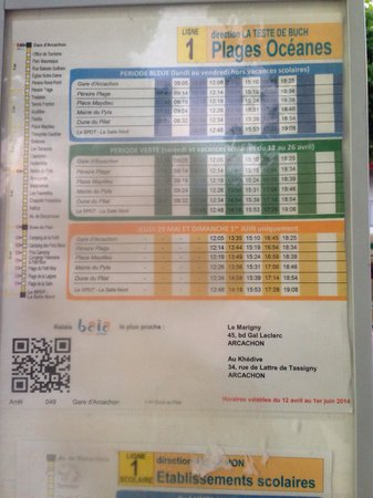 Dune du Pilat : 2014 年5月の砂丘へ行く、バス時刻表