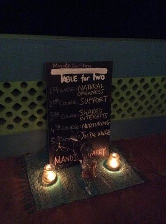 Our Table for Two menu....