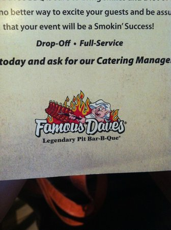 """Famous Dave's Barbeque : Husband said """"Best ribs he's ever had."""""""