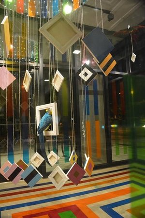 """Hotel Indigo Athens-University area: Outdoor art installation (best viewed at night) """"The Glass Cube"""" Hello Polly... exhibit"""
