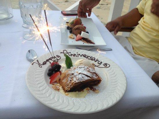The Wharf : Anniversary dessert
