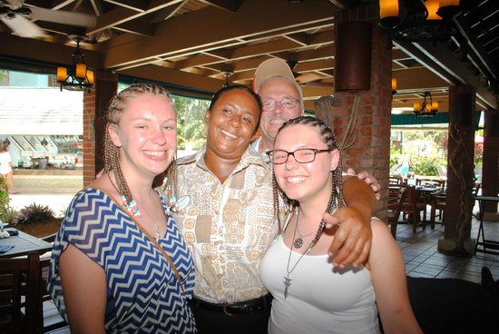 Beaches Negril Resort & Spa: Arizona restaurant with Arica one of our favorite staff members!