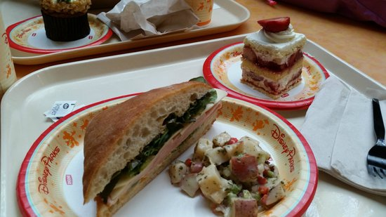 Sunshine Seasons: Turkey Sandwich with potato salad & Strawberry Shortcake