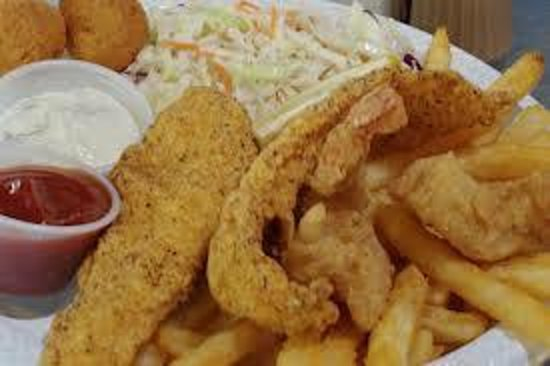 Fried Fish fillets and Coleslaw and Fries - Picture of ...