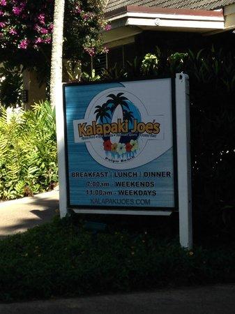 Kalapaki Joe's Poipu : outside sign entrance