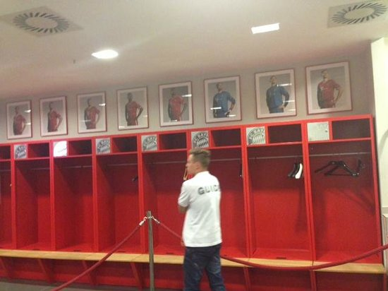 Allianz Arena: Player changing room, also you can see our tour guide