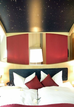 Hotel Villa Ludwig: Starry sky above bed