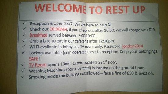 RestUp London: Памятка при поселении
