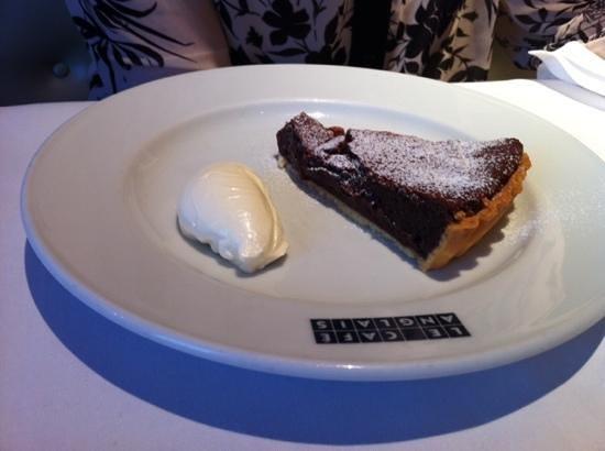 Le Cafe Anglais: Bitter choc tart with creme fraiche