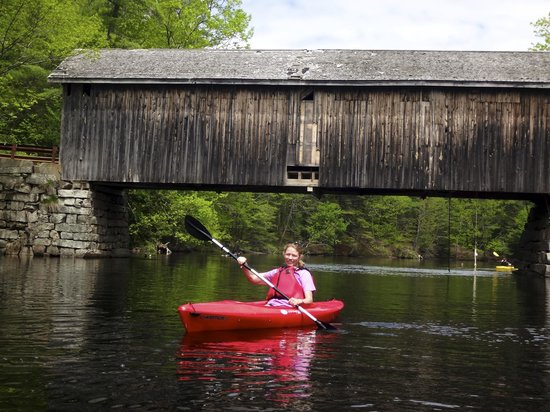Sebago Trails Paddling Company: Sebago Trails- under a covered bridge- really pretty!