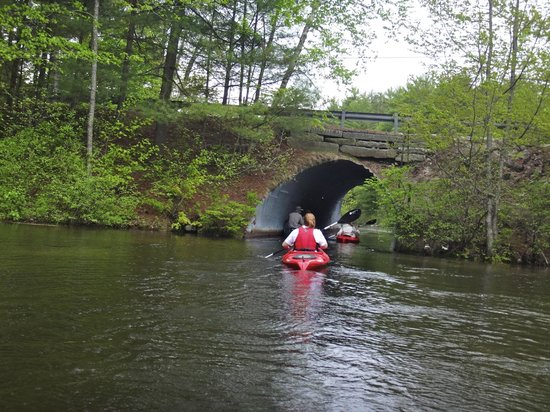 Sebago Trails Paddling Company : Our guide Katelyn leading the way through a tunnel