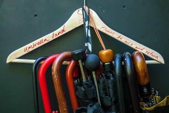 Umbrellas land! atThe Dictionary Hostel, Shoreditch, East London