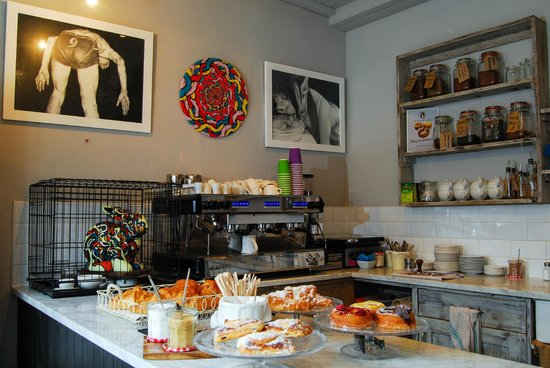 Our coffeeshop selling amazing cronuts - The Dictionary Hostel, Shoreditch, East London