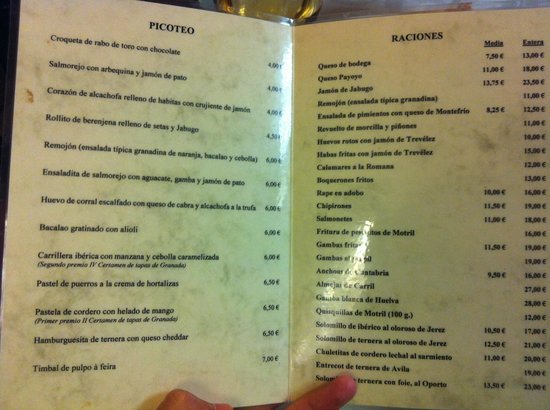 Restaurante Las Tinajas: Carta de tapas