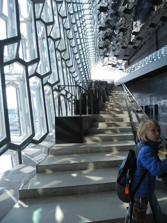 Harpa Reykjavik Concert Hall and Conference Centre: stairs with a great place to hang out