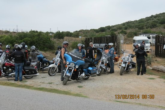 Kudu Ridge Game Ranch: Main Entrance Gate with group of French Bikers