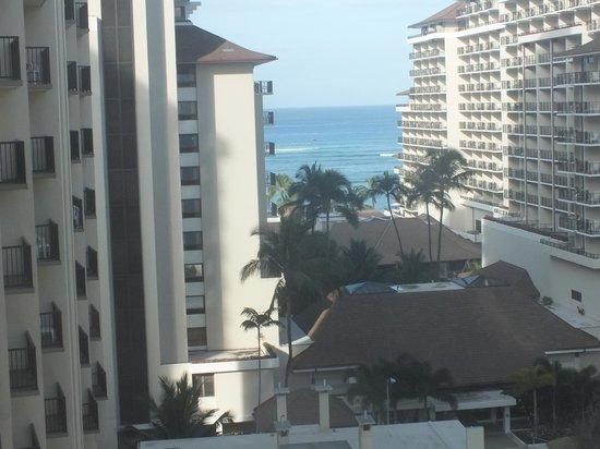 Wyndham at Waikiki Beach Walk: View from room at Waikiki Beach through other bldgs.