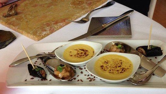 """Aigue Marine Restaurant: amuse-bouche - menu du """" Phare de la Corne"""""""