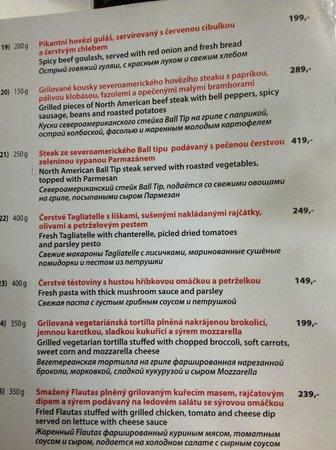 Vytopna Railway Restaurant - Vaclavske namesti : Меню 04.04.14