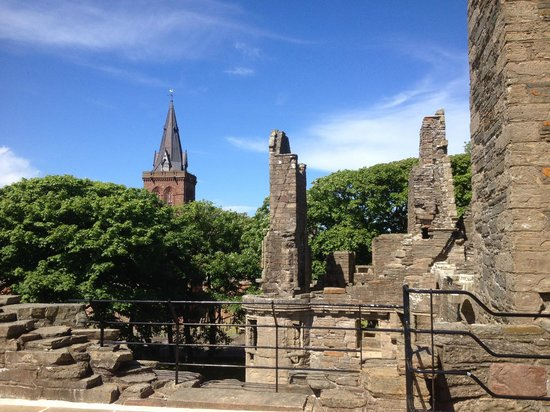 The Earl's Palace: View towards St Magnus Cathedral from Earl's Palace