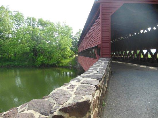 Sachs Covered Bridge: The river flowing under the bridge