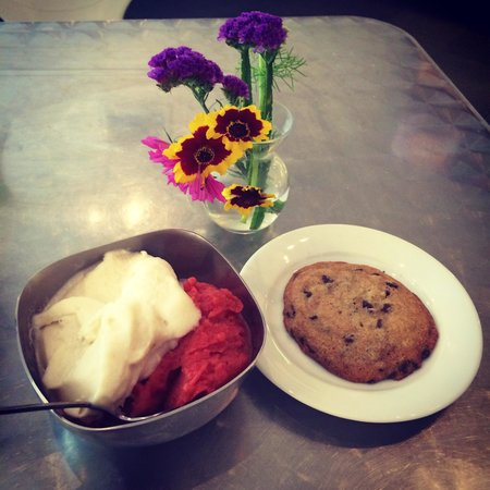La Divina Gelateria: Abita Root Beer & Strawberry Balsamic gelato with a chocolate chip cookie - YUM!