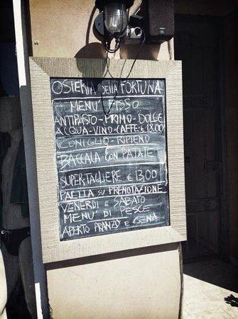 B&B della Fortuna: il menú dell'osteria