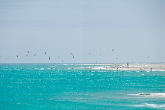 Laguna de Sotavento : Kitesurf in azione.