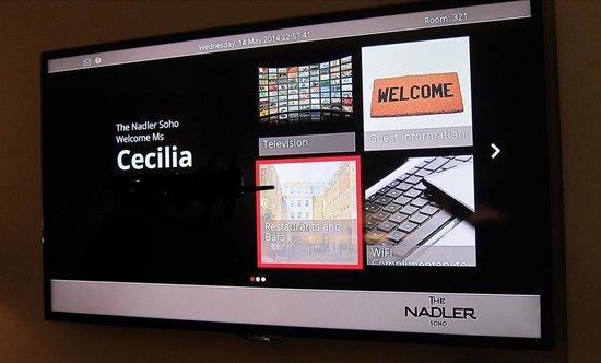 The Nadler Soho: tv screen in my room