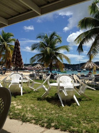 Hotel on the Cay: View of the beach from the restaurant
