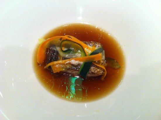 Porrue: Wild seabass on dashi broth