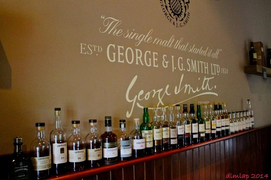 The Glenlivet Distillery: The selection of beautiful product at the tasting bar.