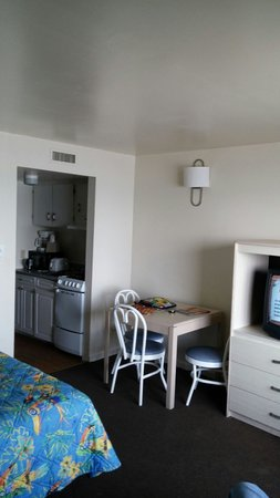 Viking Ocean Front Motel: Tv and kitchenette
