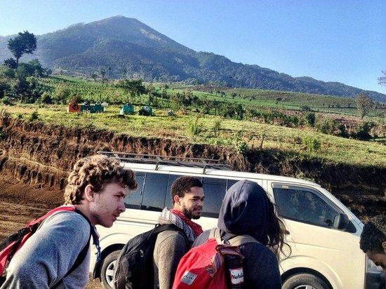 Acatenango Volcano: Starting the Hike - Volcan Acatenango before us