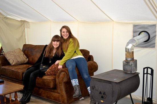 Yellowstone Under Canvas: the girls had a restful nights sleep on the sleeper sofa