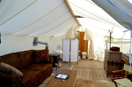 Yellowstone Under Canvas: everything is situated very nicely with canvas coverings for privacy