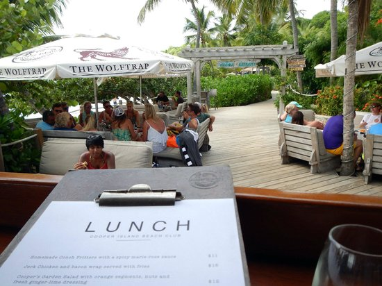 Cooper Island Beach Club Restaurant : Aqua Blue Charters guest getting lunch at Cooper Island