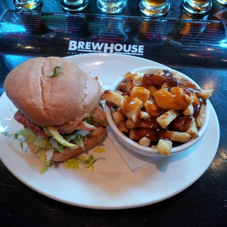 Brewhouse at Whistler: salmon burger with poutine