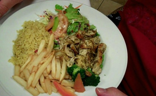 Lisa's Restaurant: Jerk Chicken with a side of Fries    Yummy!