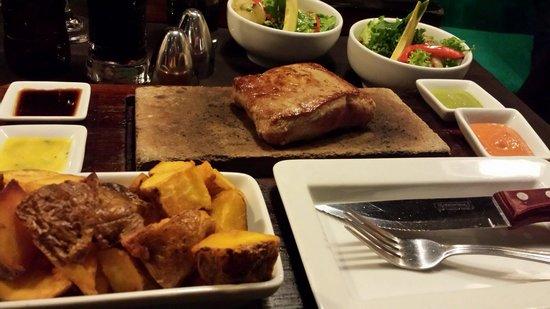 Uchu Peruvian Steakhouse: Alpaca steak on a hot stone. Yum!
