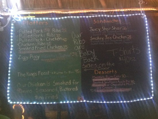Lazy Croc BBQ: Menu excluding side items which are listed elsewhere.
