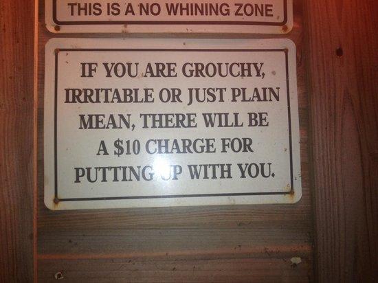 Lazy Croc BBQ: Warning sign at lazy crocs.