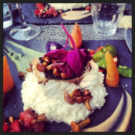 La Royale : Bar, girolles, petits légumes et risotto!