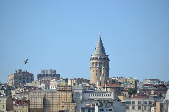 Neorion Hotel: Galata Tower by day from roof top deck